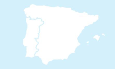 Mapa del territorio español y Portugal